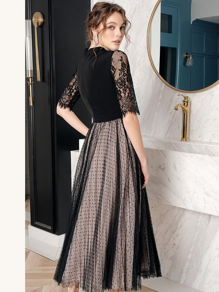 19 Spring Summer Original Design of Intellect and Elegant Dot Patchwork Lace Hollow Mesh Heavy Half Sleeve Woman Maxi Dress 3