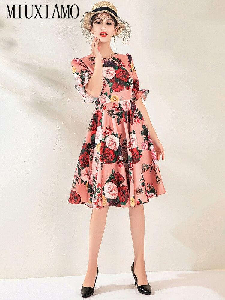 MIUXIMAO High Quality 19 Fall&spring Dress Luxurious Vintage Flare Sleeve Flower Print Elegant Casual Dress Women Vestidos 3