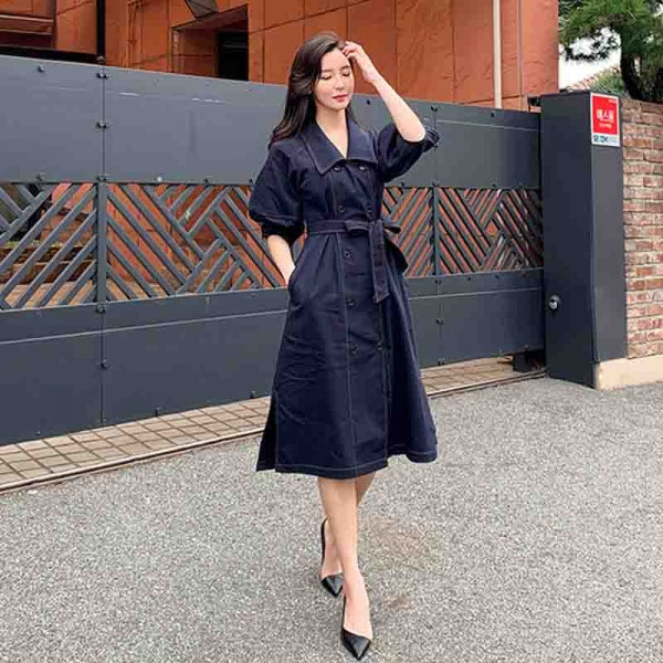 LLZACOOSH Double-breasted Autumn Loose Sashes Jeans Dress 19 Women Office Turn Down collar Blue Denim Half sleeve Cowboy Dress