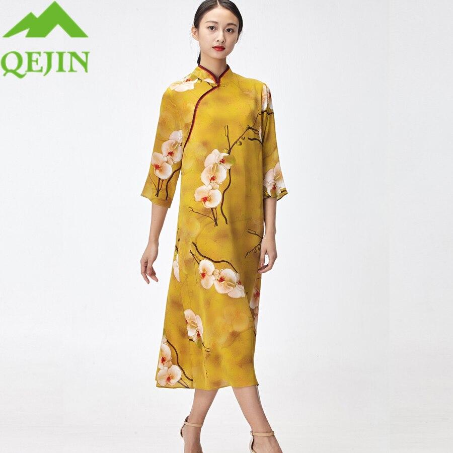 18 women silk dresses summer kleid floral printed nature silk vestidos half sleeve Long beach dresses loose sun dress yellow 2