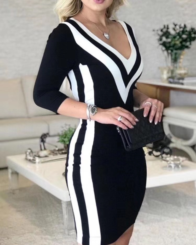 Winter Style  Sexy Half Sleeve Patchwork Bandage Dress Designer Fashion Evening Party Dress Vestido 1
