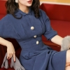 Le Palais Vintage 19 Winter Original Elegant Vintage Deep Morandi Blue Batwing Sleeve Collect Waist Dresses Long Women Dress