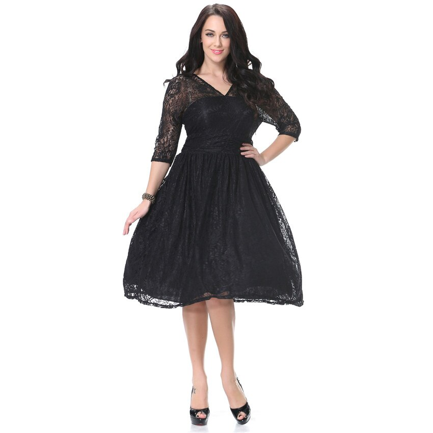 Women Spring Autumn Dress V Neck Half Sleeve Black Lace Dress Big Size 7XL Ball Gown Elegant Evening Club Party Dress 1
