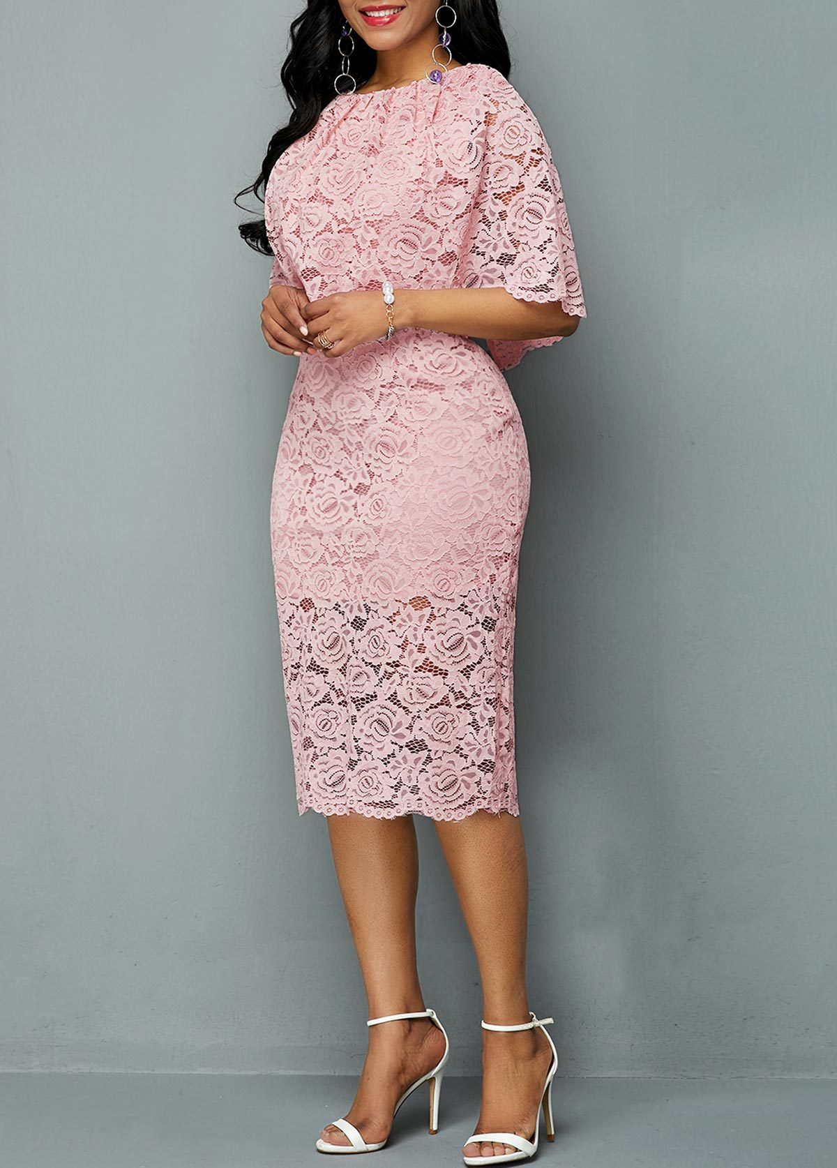 Large Size Dress Round Neck Lace Cutout Dress Female Elegant Five-point Sleeves Slim Party Large Size Dress Female Vestidos 5xl 2