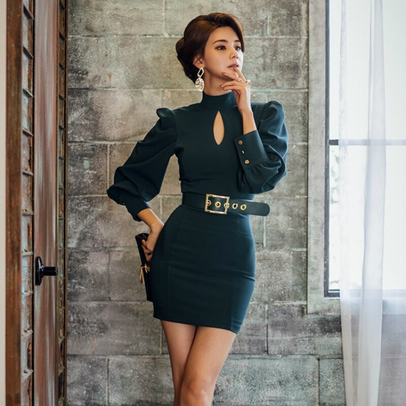 19 New Modis Solid Vintage Dress Women with Shashes Backless Sexy Dress Women Half Turtleneck Puff Sleeve Mini Runaway Dress 2