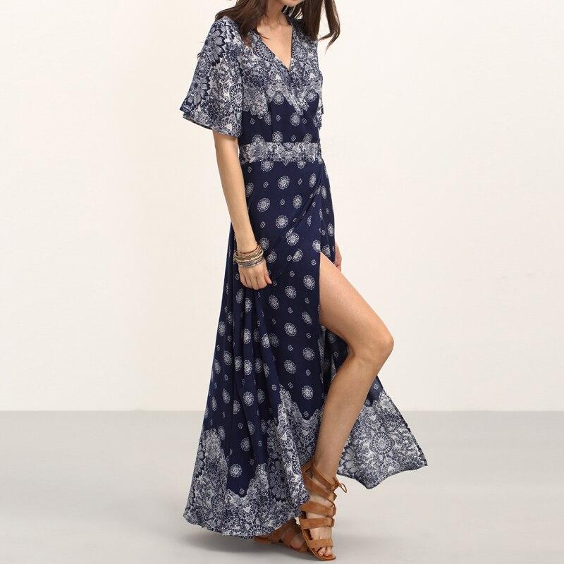 HEE GRAND Ladies Summer Long Dresses with Sashes Womens Vintage Multicolor Print V Neck Half Sleeve Split Maxi Dress WQL5625 2