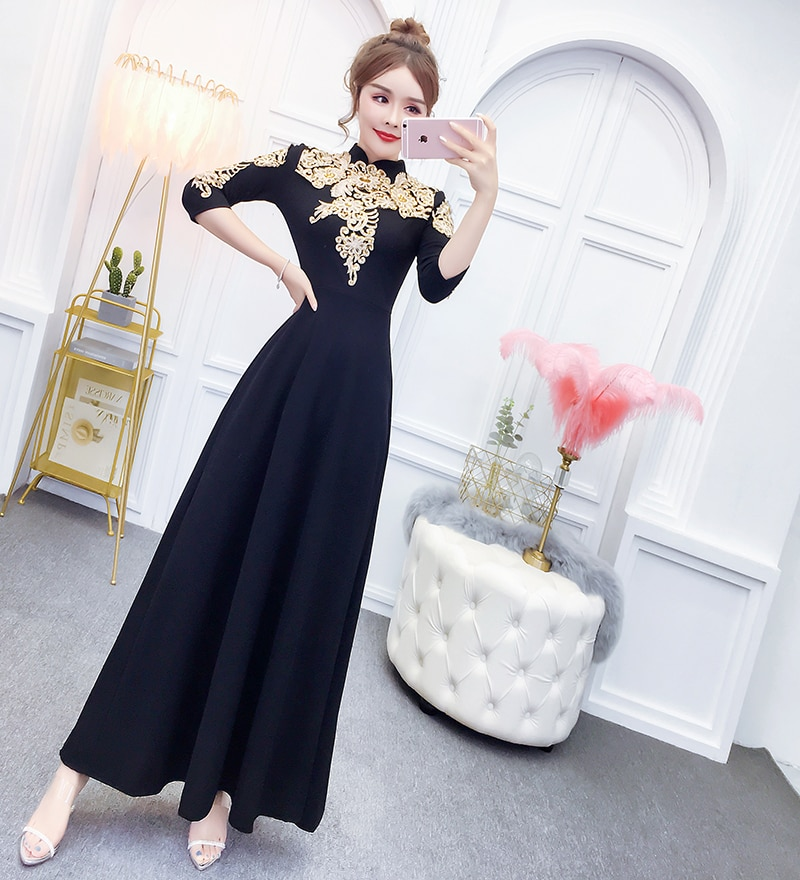 YOSIMI 19 Summer Maxi Evening Party Dress Half Sleeve Gold Line Embroidery Elegant A-line Long Slim Women Dresses Ankle-Length 2