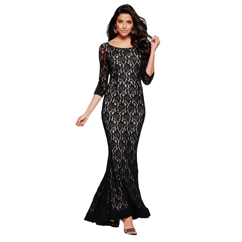 European Style O-neck Hollow Back Half Sleeves Mermaid Lap Lace Dress Evening Party Empire Waist Graceful Dress FS0646 1