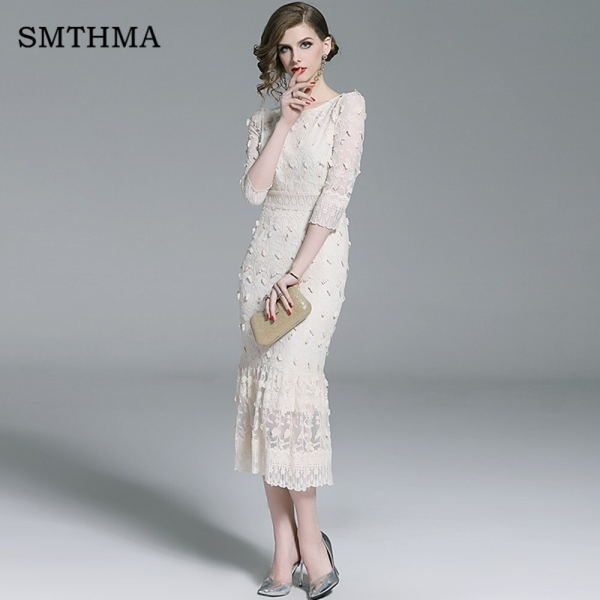SMTHMA 19 New Embrodery Mesh Long Dress Women Spring Half Sleeve Dresses High Waist Trumpet Mermaid Dress Vestido