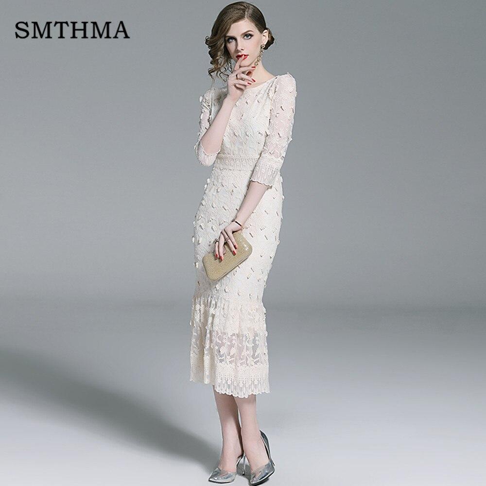 SMTHMA 19 New Embrodery Mesh Long Dress Women Spring Half Sleeve Dresses High Waist Trumpet Mermaid Dress Vestido
