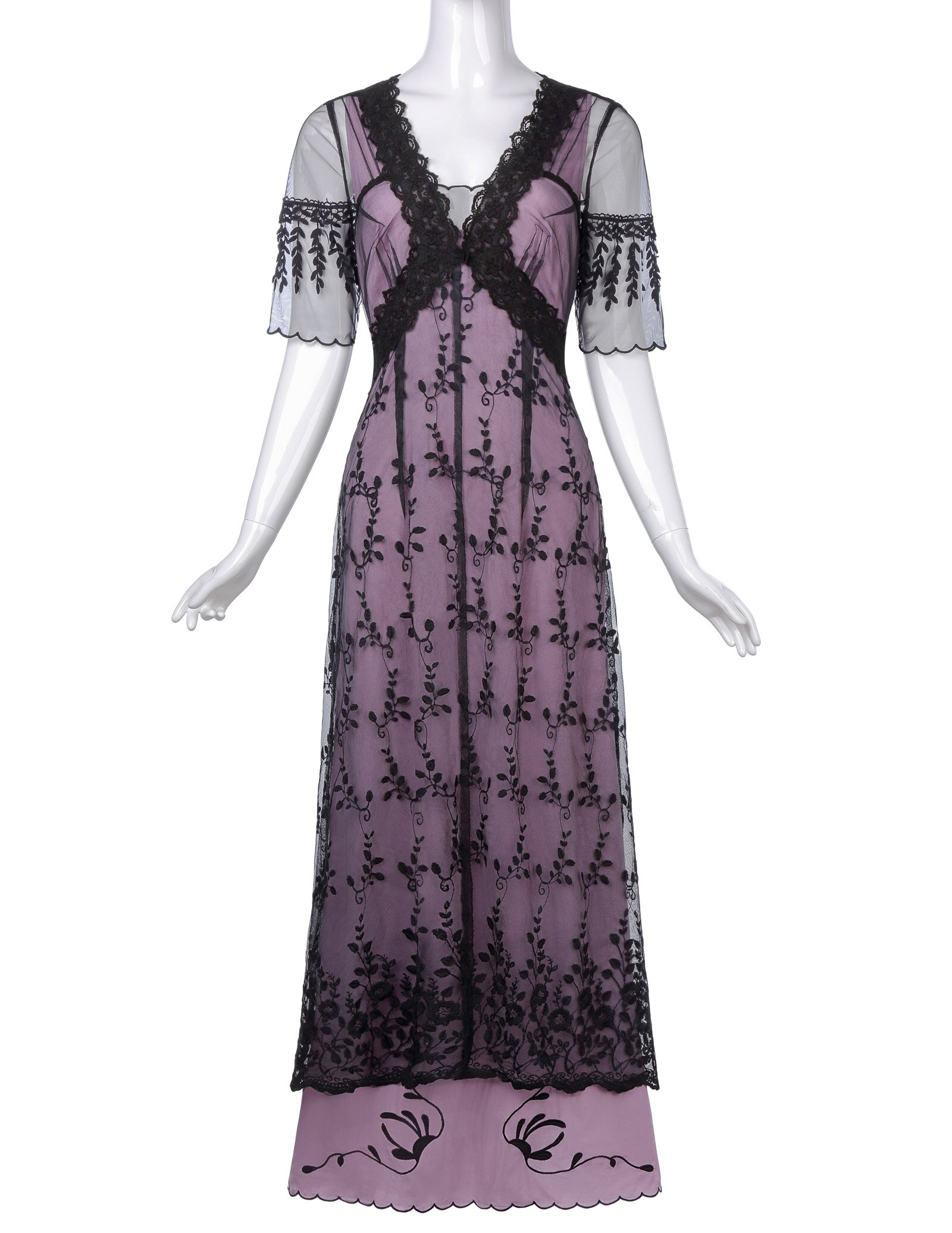 Lolita floral Embroidery Mesh ankle length ladies dress Sexy Women Retro Vintage Victorian Style Half Sleeve V-Neck Lace Dresses 2
