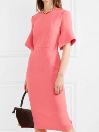 Elegant Work Women Pencil Dress Solid Pink Slim Half Sleeve Dresses Back Zipper Office Lady High Waist Long Mid Dress