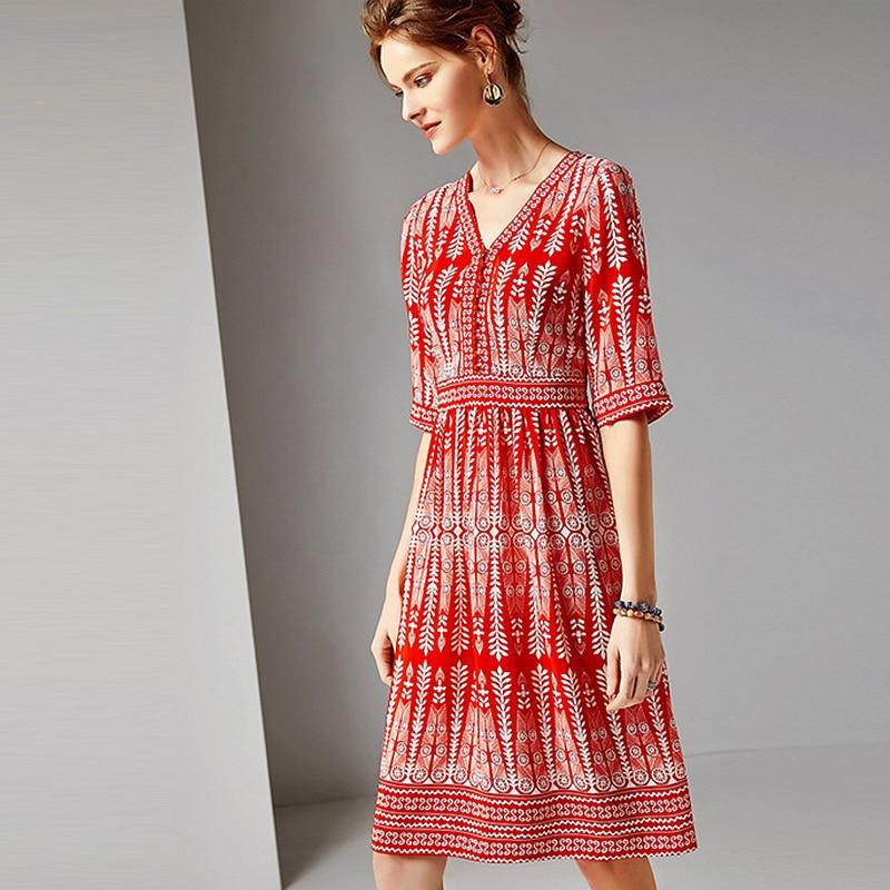 Dress Women 100% Silk Fabric Printed V Neck Half Sleeves High Waist Casual Style Dress New Fashion Spring 19 1