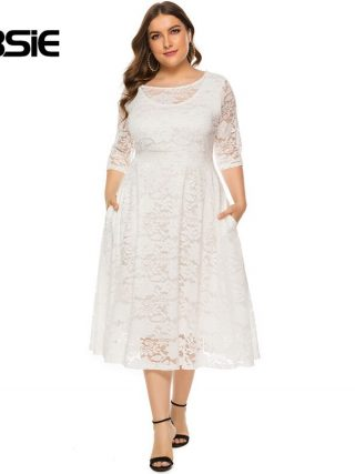 GIBSIE Plus Size Women Elegant O-Neck Half Sleeve Lace Dress Black White Evening Party Dresses Female Pocket A-line Long Dress