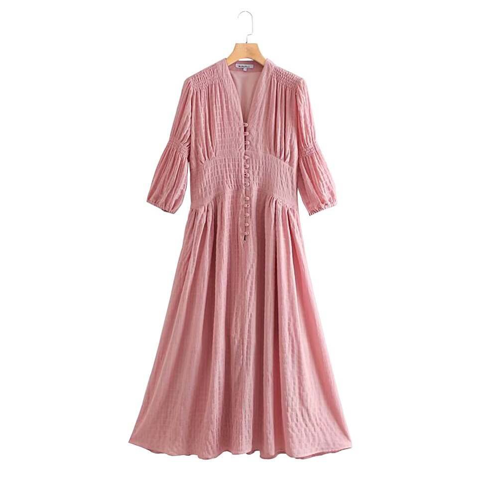 Women Summer Vintage Solid Dress Half Sleeve Buttons High Waist V-Neck Dresses Female Elegant A-Line Dress vestidos Clothing 1