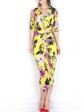 Guesod 18 Summer Women Dress Silk Rose Medium Length Silk V-Neck Folds Slim Lemon Yellow Half Sleeve Bud Silk Dress