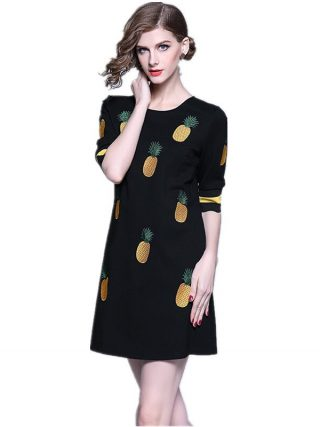 HAMALIEL Spring Women Embroidery Pineapple A Line Dress 19 Runway Black Half Sleeve Slim Dress Casual O Neck Dress Vestidos