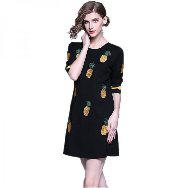 HAMALIEL Spring Women Embroidery Pineapple A Line Dress 19 Runway Black Half Sleeve Slim Dress Casual O Neck Dress Vestidos