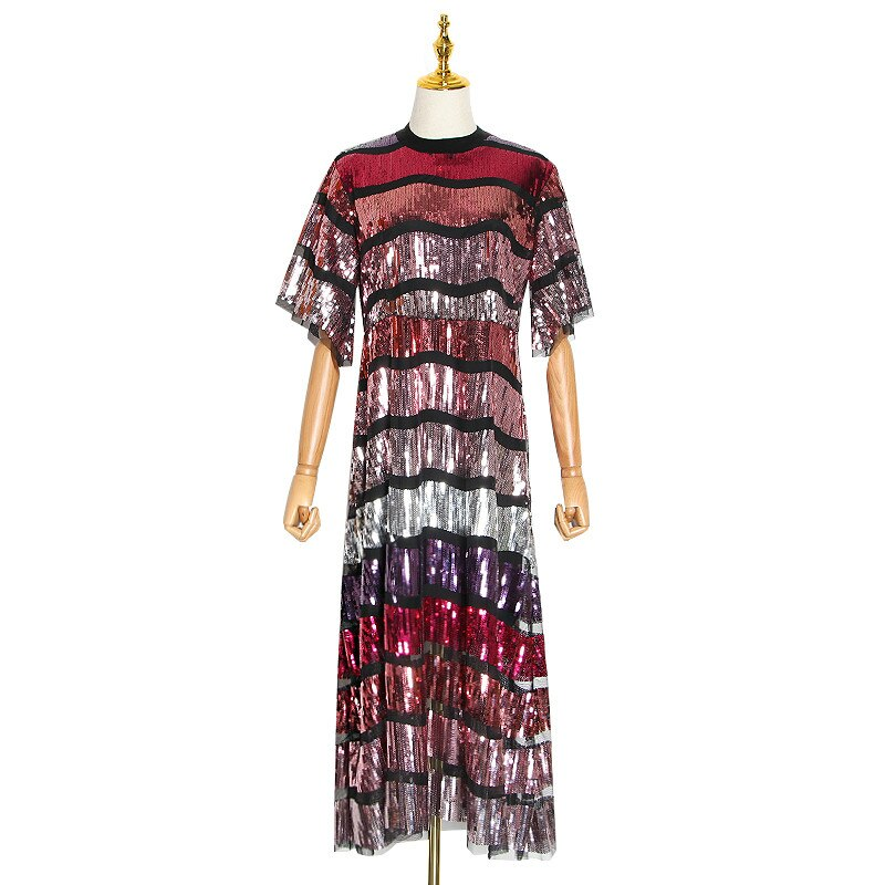 Patchwork Sequin Hit Color Dress For Female Stand Collar Flare Half Sleeve Midi Dresses Women Clothing  Fashion 1