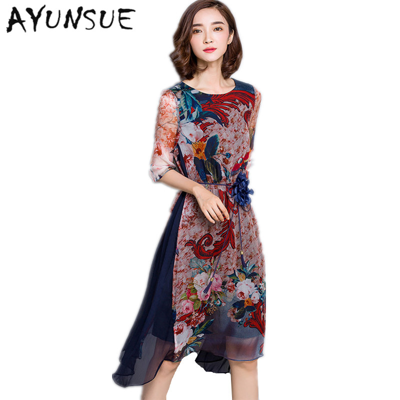 O-neck High Quality Vestidos Vintage Dress Floral Print Silk Dress Half Sleeve Loose Summer Dresses Casual Women Clothing FYY341 1
