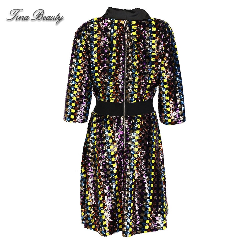 A Line Plaid Sequin Dress Female Autumn Elegant Glitter V-Neck Half Sleeve Mini Dresses Womens Party Dress Evening Vestido 3