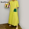 RealShe Women Maxi Dress O-Neck Short Sleeve Loose Long Dress Elegant Spring Casual Women Dress Summer Dresses Casual