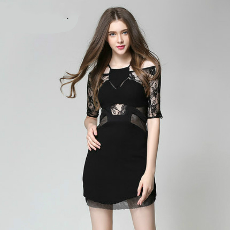 Summer Hollow Out Halter Sexy Bandage Dress Half Sleeve Black Lace Wrap Dress Clubwear for Women Vestidos Women Solid Mini Dress