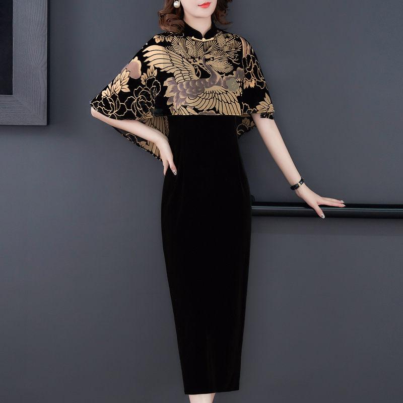 Chinese Style Clothing Gold Velvet Print Cloak Vintage Qipao Dress Women Elegant Plus Size Party Dress Femme Robe Vestidos f2626 3