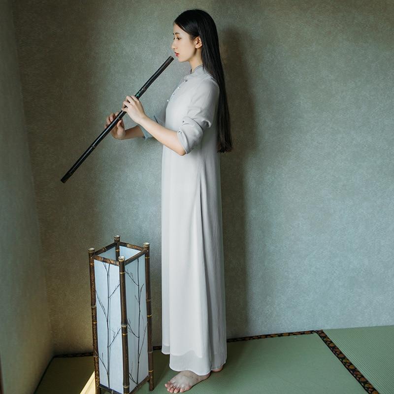 Summer New Tea Art Tea Service Retro Chinese Elements Half Sleeves Meditation Dress Chinese Dress Female 3