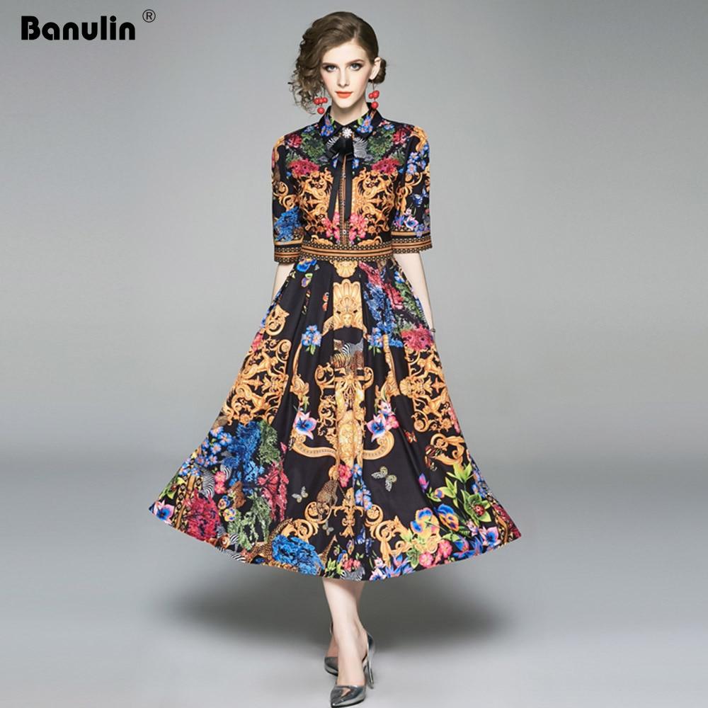 19 Summer Elegant Half Sleeve Dress Women Floral Print Runway Long Dress Fashions Button Diamonds Vintage Midi Dress B9119 1