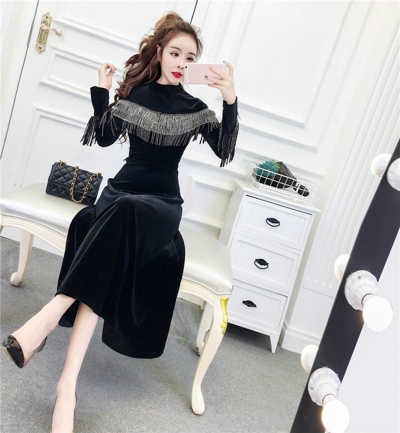 Joinyouth Tassel Half Turtleneck Mid-Calf Vestidos Women Velour High Waist Long Sleeve Dress Solid Slim Party Dresses 56787 3