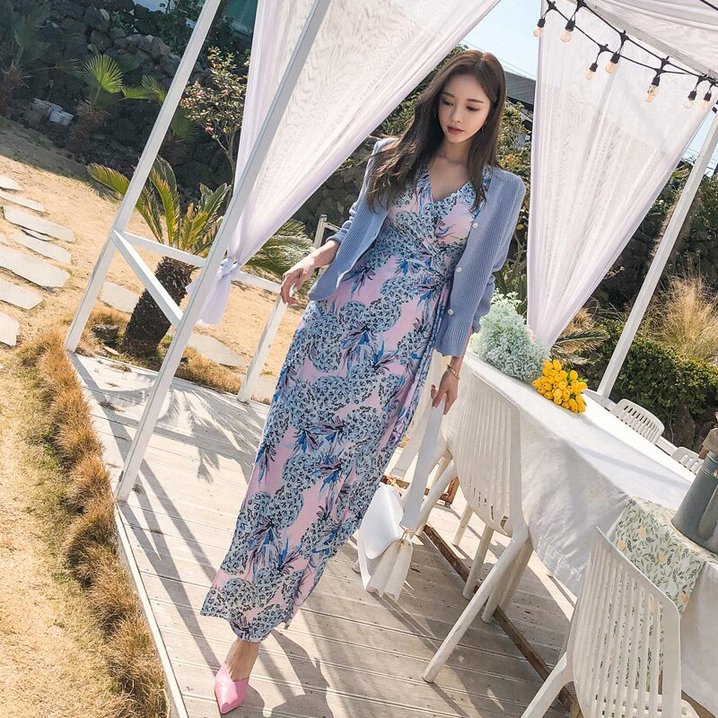 19 Summer Beach Long Dress Pineapple Print Women Boho V-neck Half Sleeve Dress Sexy Bandage Long Dresses 3