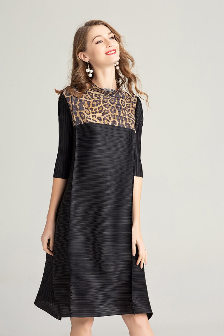 FREE SHIPPING Miyake Fashion fold half sleeve patchwork Leopard stand neck dress IN STOCK 2