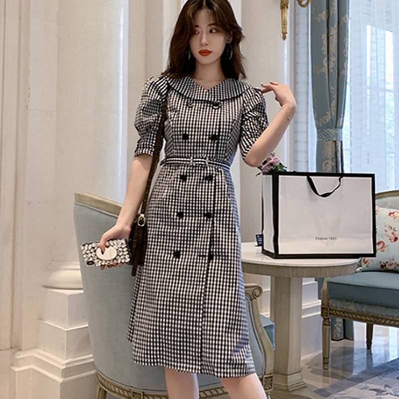 19 autumn Korean Double Breasted Plaid Dresses Women Gray Ruffles Bodycon OL Dress Fashion Half Sleeve dresses 1