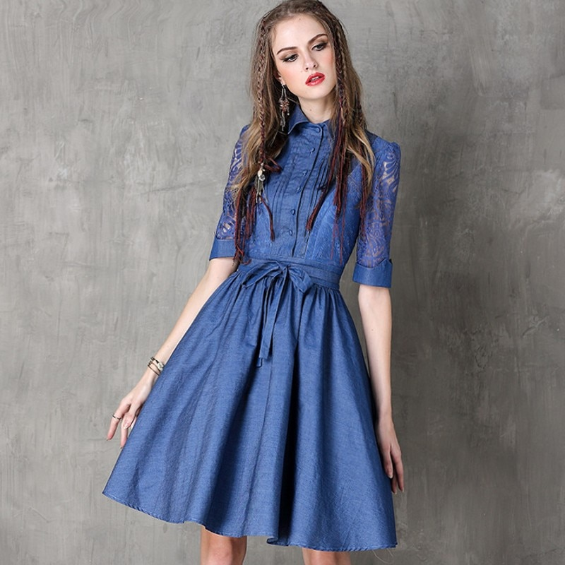 Vintage Hollow Out Embroidery Women Fashion High Street Half Sleeve Dress Jean Denim Female Lapel Single Breasted Slim Vestidos 2