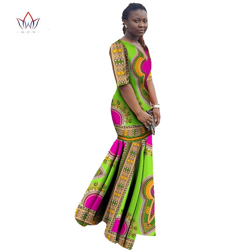 African Dresses for Women Dashiki African Print Clothing Half Sleeve Mermaid Dress Maxi Dress BRW Plus Size 6XL WY406 2