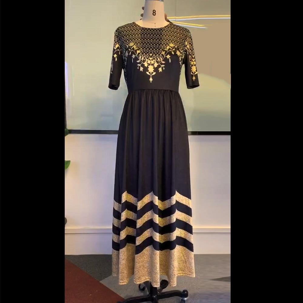 Women Round Neck Boho Dress Half Sleeve female elegant vintage floral printed a line pocket Black maxi dresses robe femme 19 3
