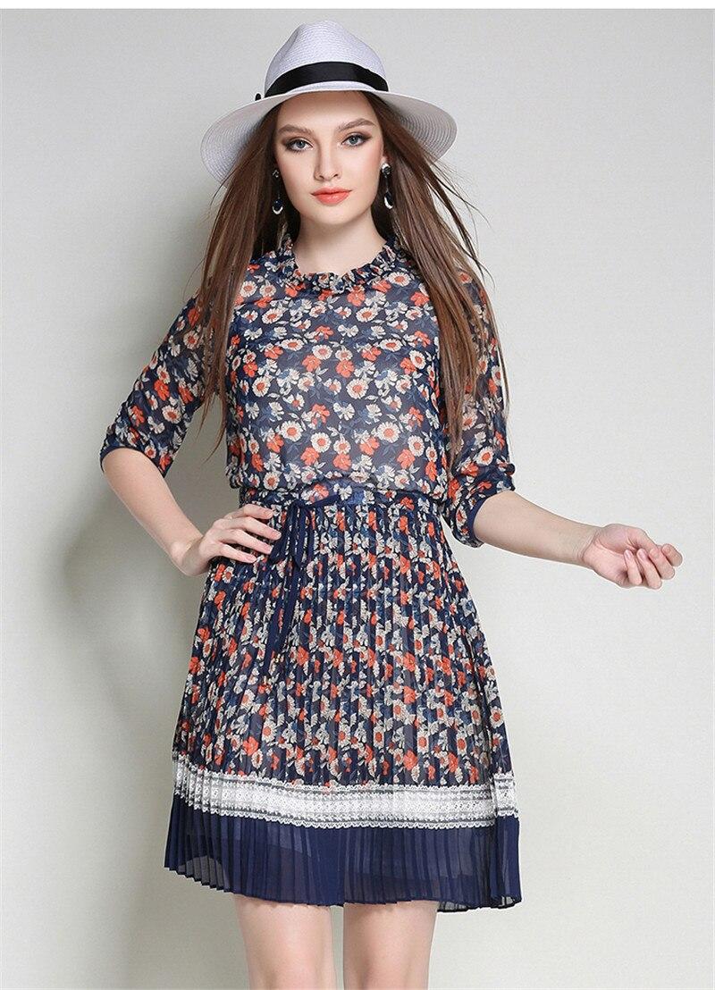 Half Sleeve Elegant Dress Women Chiffon Plus Size 5XL Blue Floral Dress Summer Dresses Casual Clothes Women Vestidos MujerFYY313 3