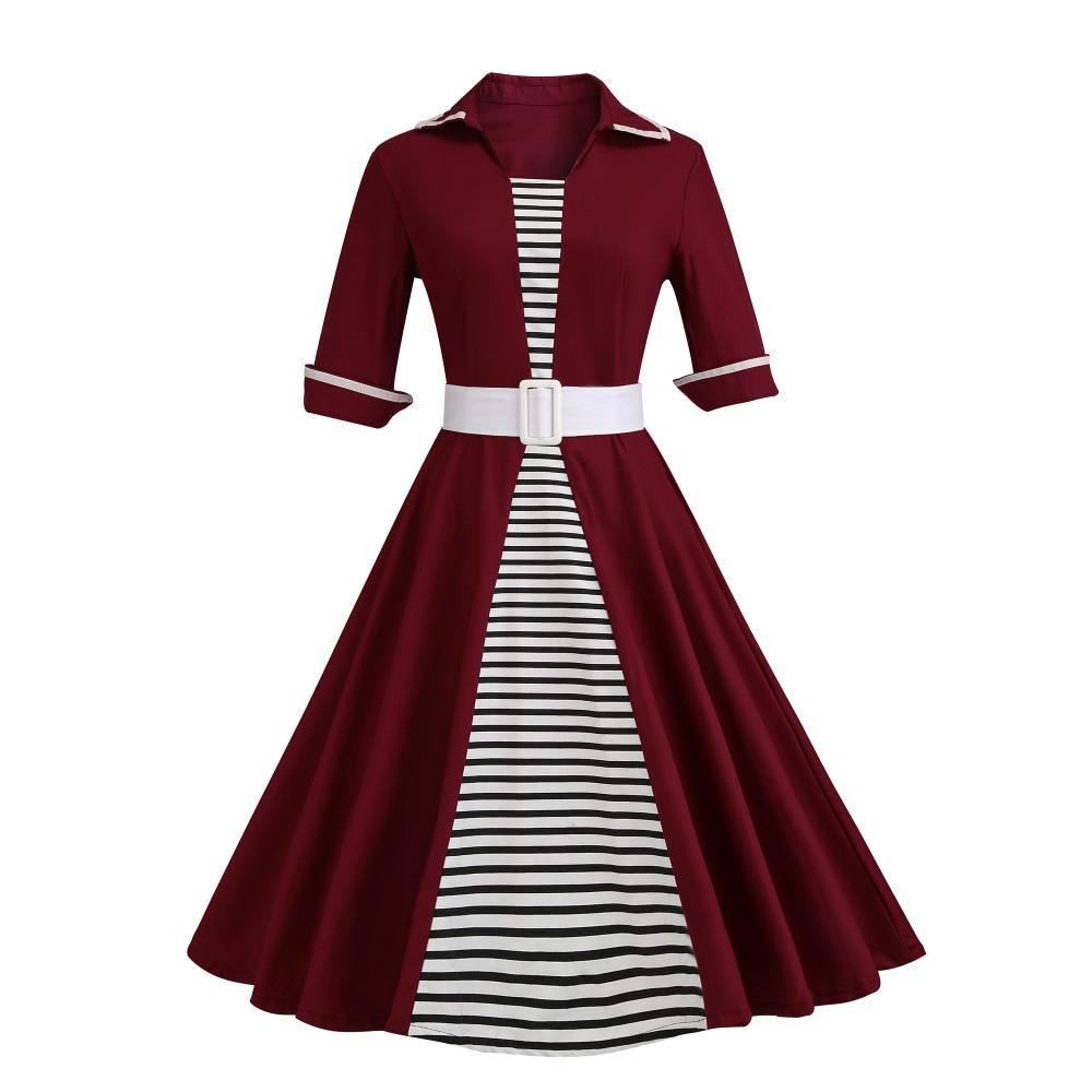 Autumn 4XL Plus Size 3XL Stripe Print Half Sleeves Lapel Vintage Dress 50's Audrey Retro Dresses Pattern Work Party Vestidos 2