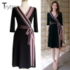 Trytree Summer Autumn Dress Women Casual 18 shirt Polyester Black A-Line Half Sleeve Dresses Black Chiffon dress kyliejenner