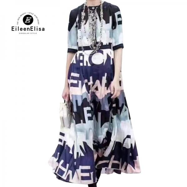 Women Dress Print Half Sleeve Dress 19 Autumn Ladies Long Dress Elegant