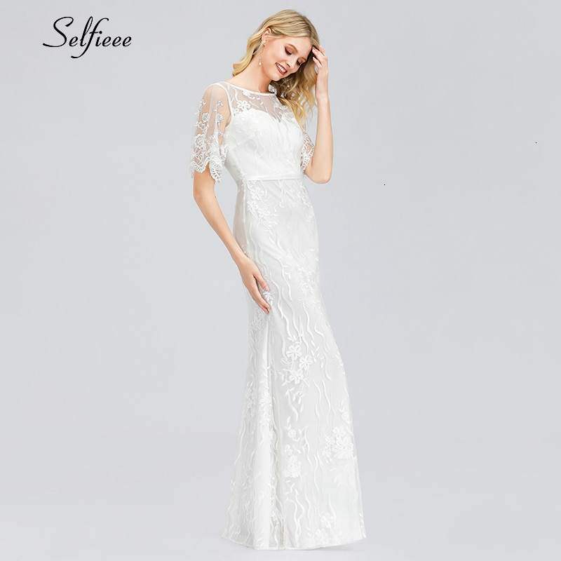Elegant White Lace Women Dress Mermaid O-Neck Half Sleeve Illusion Bodycon Dress Ladies Sexy Maxi Dress Vestido De Festa 19 3