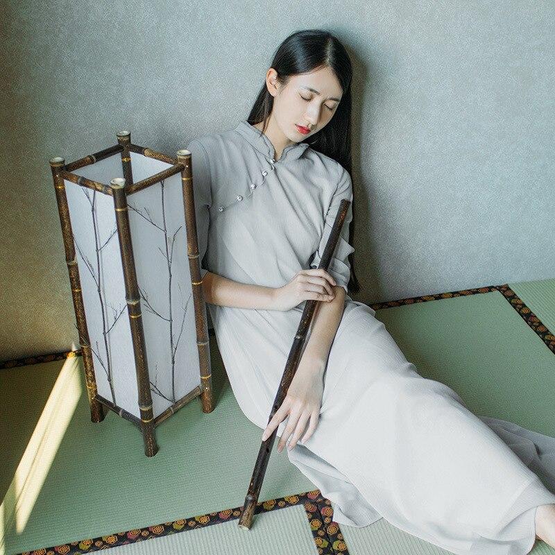 Summer New Tea Art Tea Service Retro Chinese Elements Half Sleeves Meditation Dress Chinese Dress Female 2