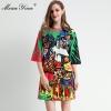 MoaaYina Fashion Designer dress Spring Summer Women's Dress Half sleeve Beading Angel letter Print Dresses