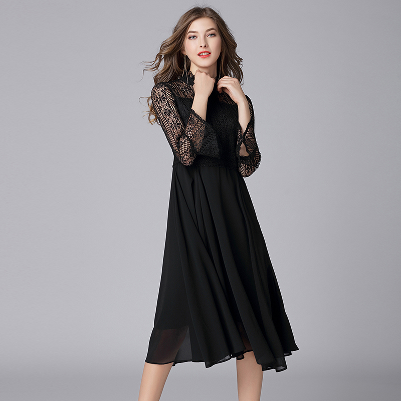 Queechalle L – 5XL Plus Size Chiffon Dress Women Hollow Out Flare Half Sleeve Floral Crochet Casual Lace Dress Femininas Vestido 3