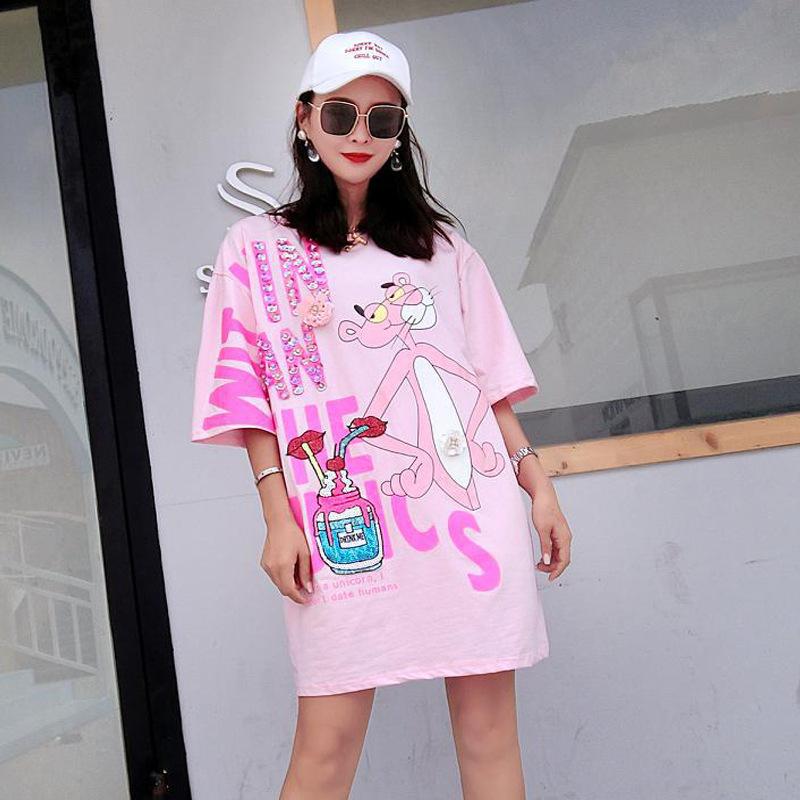 Vefadisa Pink Letter Dress Women Cartoon Printing Dress Half Sleeve Mini Dress Summer Sequin Lips T Shirt Loose Long Tops ZLD840 3