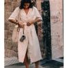 Summer Dresses 19 Women Temperament Waist Commuter Button Dress Half Sleeve Pockets Midi Dress Casual Woman Dresses With Belt