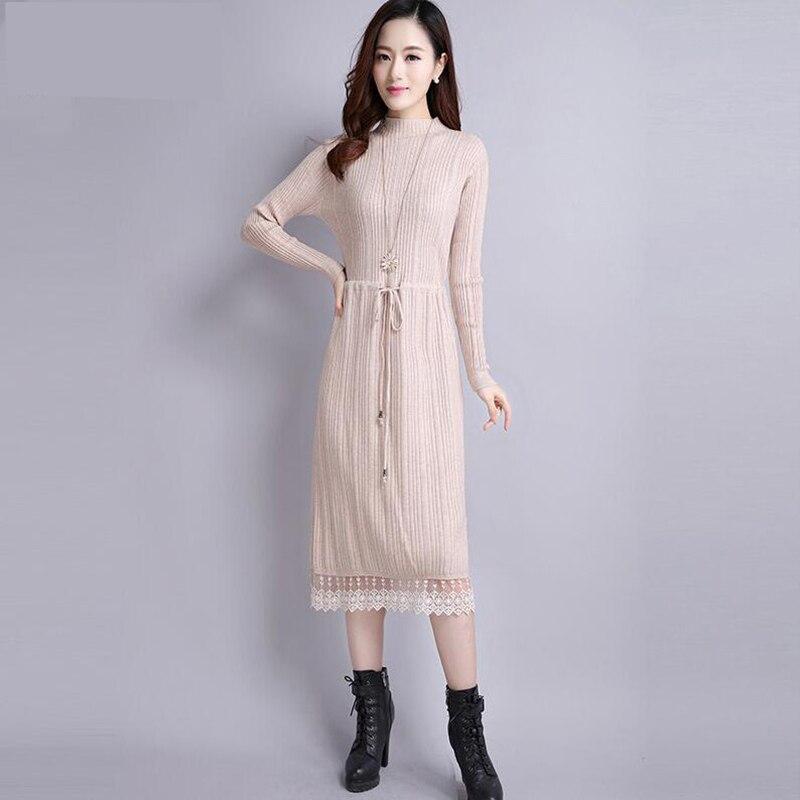 18 Women Autumn Winter Sweater Dress new Slim half Turtleneck Long Sleeve Sexy Lady Bodycon Robe Lace Knitted Dresses Vestidos 2