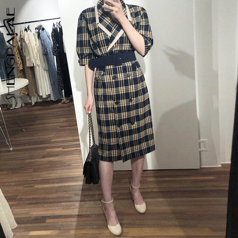 SHENGPALAE  Turn-down Collar Half Sleeve Korean Fashion Slim Waist With Belt Patchwork Color Women Korean Dress Tide FN7751