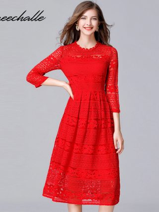 Queechalle Black Red Slim Lace Dresses for Women 19 Spring Hollow Out Half Sleeve Female Dress 3XL 4XL 5XL Plus Size Vestidos